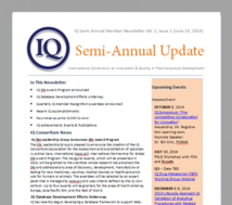 IQ Semi-Annual Member Newsletter Vol. 1, Issue 1 (June 25, 2014)